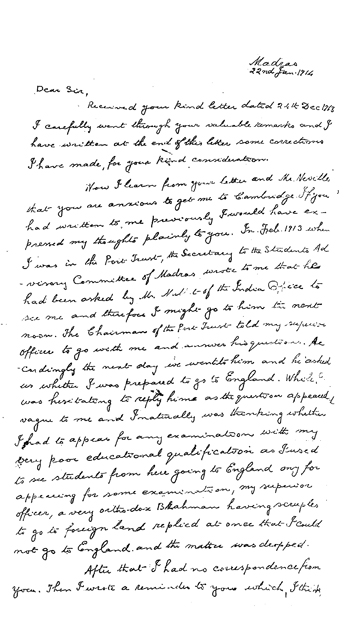 Ramanujan letter